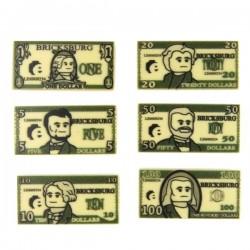 Lego Minifig Custom EclipseGrafx 6 billets de banque Dollars (Tan) (La Petite Brique)