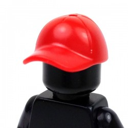 Red Minifig, Headgear Cap - Short Curved Bill with Seams and Hole on Top