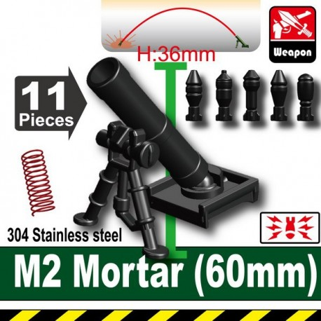 Lego Accessoires Minifig Custom SIDAN TOYS M2 Mortar(60mm) (noir) (La Petite Brique)