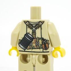 Lego Accessoires Minifig Custom Minifigs'R Us Torse + Jambes - German DAK MP40 (Tan) (La Petite Brique)