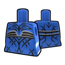 Blue Curved Torso with Evil Tatto Pattern