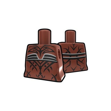 Brown Curved Torso with Evil Tatto Pattern