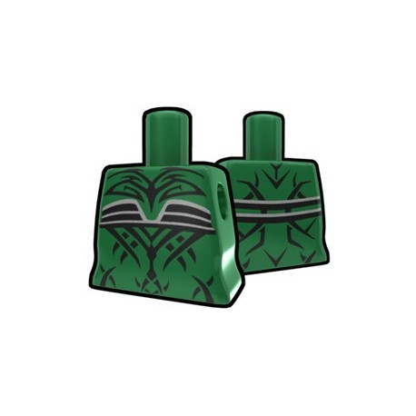 Green Curved Torso with Evil Tatto Pattern