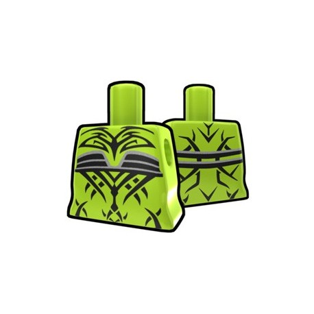 Lime Curved Torso with Evil Tatto Pattern