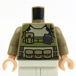 Dark Tan Torso Olive Green Body Armor, Radio, Pockets