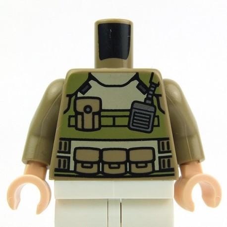 Dark Tan Torso Olive Green Body Armor, Radio, Pockets