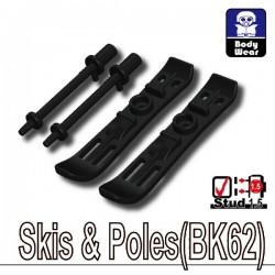 Lego Accessoires Minifig Custom SIDAN TOYS Skis & Batons (BK62 - noir) (La Petite Brique)