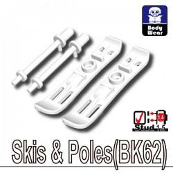 Lego Accessoires Minifig Custom SIDAN TOYS Skis & Batons (BK62 - Blanc) (La Petite Brique)
