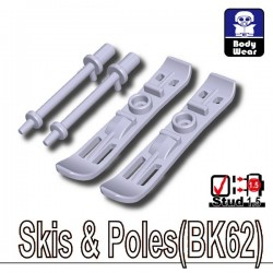 Lego Accessoires Minifig Custom SIDAN TOYS Skis & Batons (BK62 - Light Silver) (La Petite Brique)