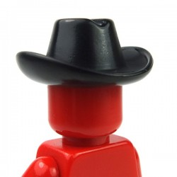 Black Minifig, Headgear Hat, Cowboy