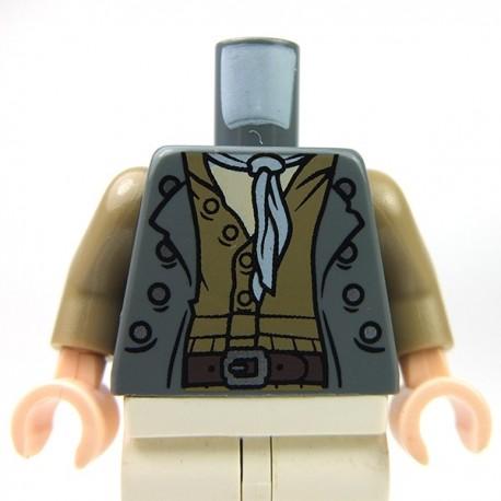 Lego Accessoires Minifig Torse - chemise et foulard (Dark Bluish Gray) (La Petite Brique)