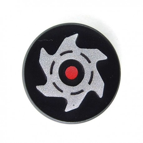 Lego Accessoires Minifig Red Circle and Silver Saw Blade (Tile rond 2x2 - DBG) (La Petite Brique)