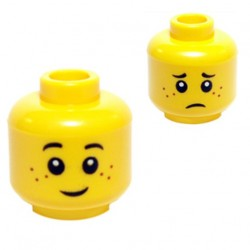 Yellow Minifig, Head Dual Sided Freckles, Smile / Worried