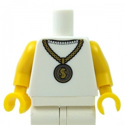 White Torso Gold Medallion with Dollar Sign