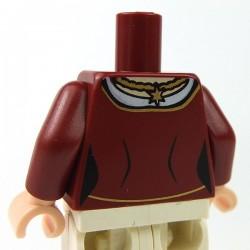 Lego Accessoires Minifig Torse Robe avec médaillon doré (Dark Red) (La Petite Brique)