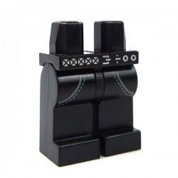 Lego Accessoires Minifig Jambes - Jeans noir ceinture et chaine (La Petite Brique)