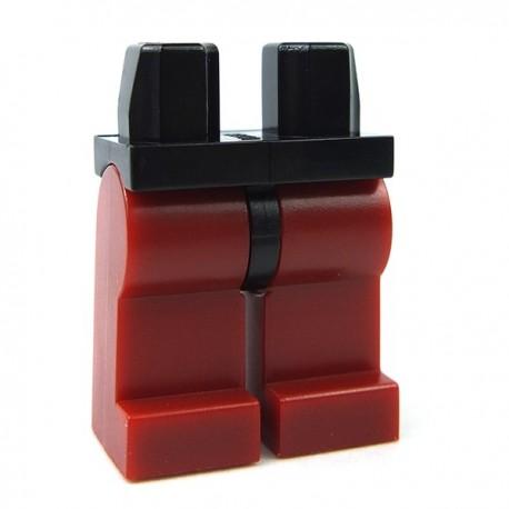 Lego Accessoires Minifig Jambes - Hanches noires, Jambes rouges foncées (La Petite Brique)