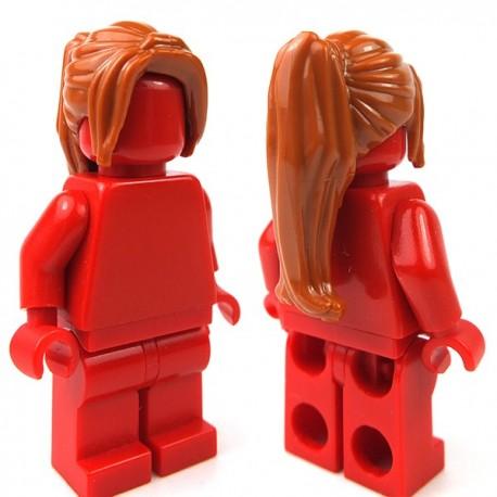 Lego Accessoires Minifig Cheveux queue de cheval longue (Dark Orange) (La Petite Brique)
