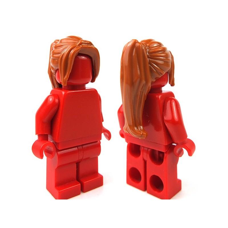 Lego AccessoriesDark Orange Minifig, Headgear Hair Female Ponytail ...