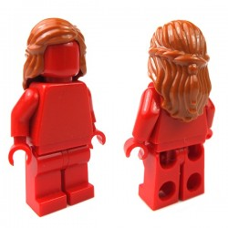 Dark Orange Minifig, Headgear Hair Female Mid-Length with Braid around Sides