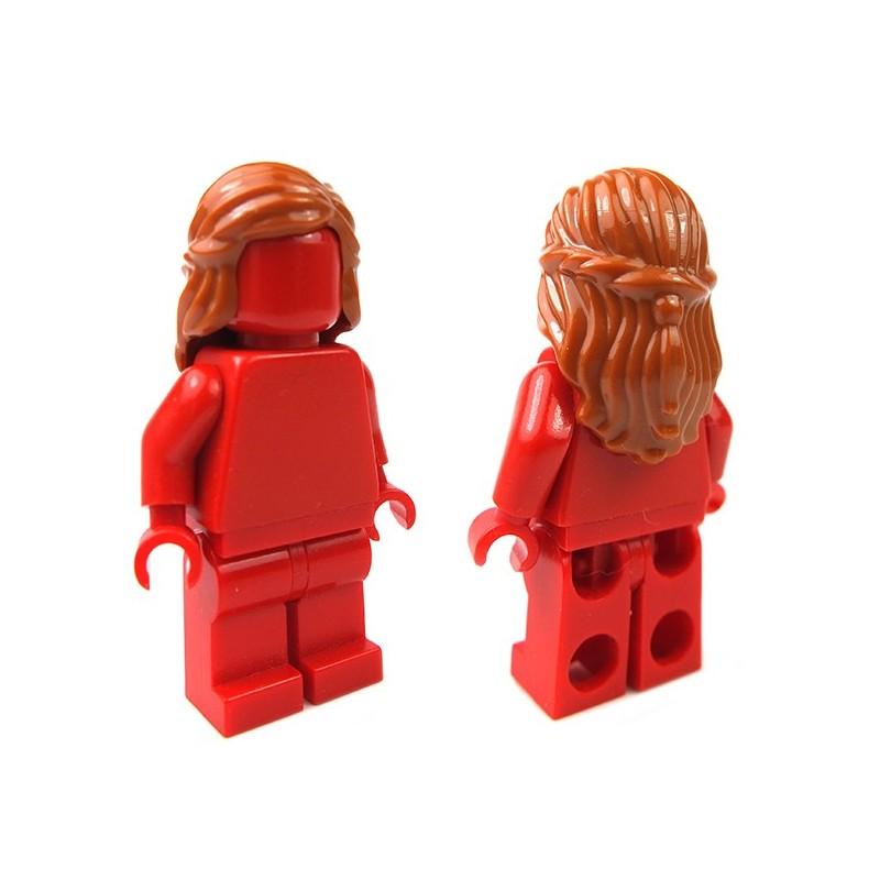 LEGO Black Minifig Headgear Hair with Beard Braided Dark Bluish Gray
