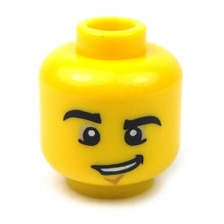 Yellow Minifig, Head Black Eyebrows, Chin Crease & Lopsided Grin
