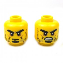 Yellow Minifig, Head Dual Sided Beard Stubble, Black Goatee, Grim Mouth / Closed Mouth