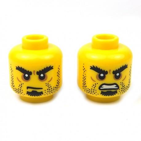 Lego Accessoires Minifig Tête masculine jaune, 60 (double visage) (La Petite Brique)