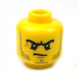 Yellow Minifig, Head Beard Stubble, Black Angry Eyebrows & Scowl