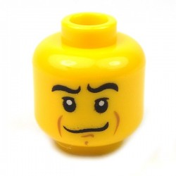 Yellow Minifig, Head Crooked Smile, Black Eyebrows, White Pupils, Chin Dimple