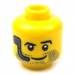Yellow Minifig, Head Beard Stubble, Raised Left Eyebrow, Headset & Smile