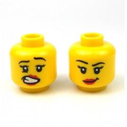 Lego Accessoires Minifig Tête féminine jaune 09 (double visage) (La Petite Brique)