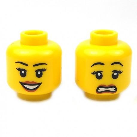 Lego Accessoires Minifig Tête féminine jaune 10 (double visage) (La Petite Brique)