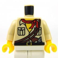 Lego Accessoires Minifig Torse - Chemise, bandana rouge, pistolet (Beige) (La Petite Brique)