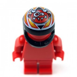 Black Minifig, Headgear Helmet Standard with Crazy Demon