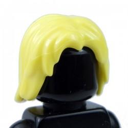 Lego Accessoires Minifig Cheveux mi-long, ébouriffé, raie au milieu (Bright Yellow) (La Petite Brique)