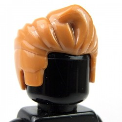 Medium Dark Flesh Minifig, Headgear Hair Swept Back with Forelock