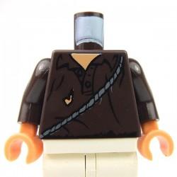 Lego Accessoires Minifig Torse Chemise en lambeaux avec ceinture (Dark Brown) (La Petite Brique)