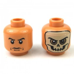Flesh Minifig, Head Dual Sided Skull Mask / Arched Eyebrows