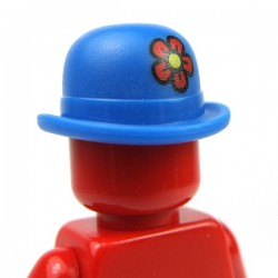 Blue Minifig, Headgear Hat, Bowler with Red Flower
