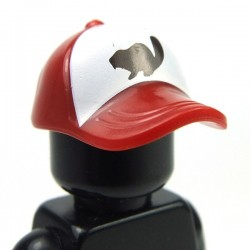 Dark Red Minifig, Headgear Cap - Short Curved Bill with Seams and Button on Top and Black Beaver