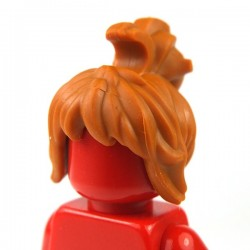 Dark Orange Minifig, Hair Female Messy with Swept-up Ponytail, Side Bangs and Clip