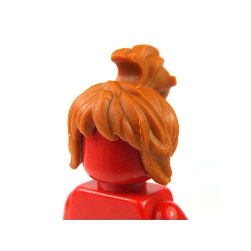 Minifig Black LEGO Headgear Hair Spiked Top with Orange Streaks Pattern
