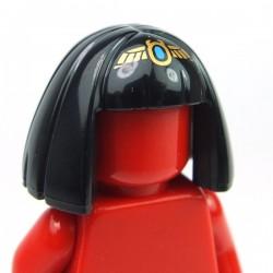 Lego Accessoires Minifig Cheveux mi-longs lisses avec frange et diadème doré (Noir) (La Petite Brique)