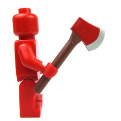 Reddish Brown Minifig, Utensil Axe with Red Head and Silver Blade