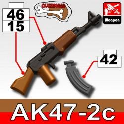 Lego Accessoires Minifig Custom SIDAN TOYS AK47/2C (Pearl Dark Black/Brown) + KA1(Iron Black) (La Petite Brique)