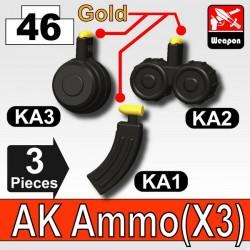 Lego Accessoires Minifig Custom SIDAN TOYS AK Ammo(KA1+KA2+KA3) (Pearl Dark Black) (La Petite Brique)