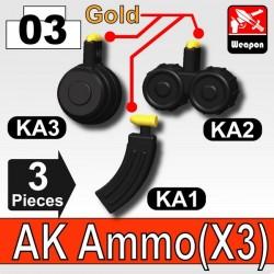 Lego Accessoires Minifig Custom SIDAN TOYS AK Ammo(KA1+KA2+KA3) (Black) (La Petite Brique)