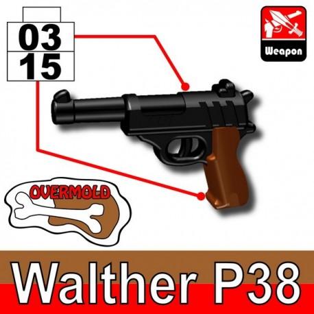 Lego Accessoires Minifig Custom SIDAN TOYS Walther P38 (Black/Brown) (La Petite Brique)