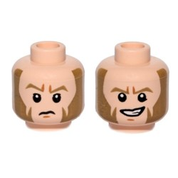 Light Flesh Minifig, Head Dual Sided Dark Tan Eyebrows & Large Sideburns, Determined / Sad